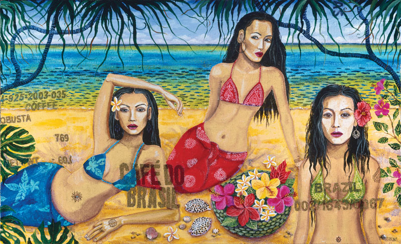 3 Girls with Cowrie Shells